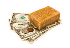 El lavar planchar del dinero. Dinero y jabón. Fotos de archivo libres de regalías