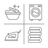 El lavarse, planchando, limpia la línea iconos del lavadero La lavadora, hierro, handwash y el otro icono clining Orden en la mue stock de ilustración