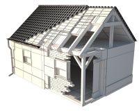 el layerd de la casa 3d, arcilla rinde y aisló en blanco ilustración del vector