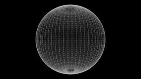 El lazo del estilo del plexo gira el ciclo de la animación de la esfera  stock de ilustración