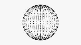 El lazo del estilo del plexo gira el ciclo de la animación de la esfera Puntos negros en el fondo blanco libre illustration