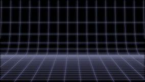 el lazo neto 3d del fondo de la ronda de neón retra 80s rinde stock de ilustración