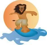 El león de la historieta practicaba surf Imagenes de archivo