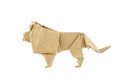 El león de la papiroflexia recicla el papel Imágenes de archivo libres de regalías