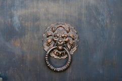 El león va al golpeador de puerta de cobre amarillo Imagen de archivo