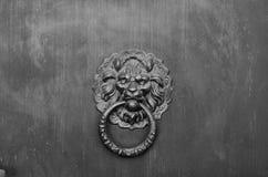 El león va al golpeador de puerta de cobre amarillo Imagenes de archivo