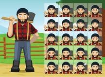 El leñador Cartoon Emotion de la granja hace frente al ejemplo del vector Fotos de archivo