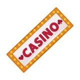 El letrero del casino con la porción de pequeñas lámparas aisló el ejemplo Fotos de archivo libres de regalías