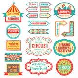 El letrero del vintage del circo etiqueta el ejemplo del vector de la bandera en la muestra entretenida blanca de la bandera imágenes de archivo libres de regalías
