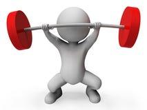 El levantamiento de pesas representa la barra Bell y la representación atlética 3d Imagen de archivo libre de regalías