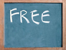 El libre de la palabra escrito en una pizarra Foto de archivo