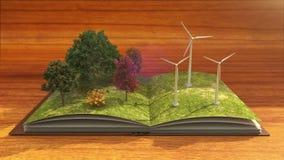 El libro abierto hace la central eléctrica de energía eólica, energía eólica, fondo marrón ilustración del vector