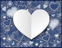 El Libro Blanco del día de tarjetas del día de San Valentín a mano que dibuja el corazón azul forma detrás ilustración del vector