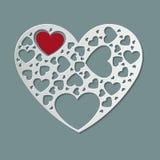 El Libro Blanco hermoso cortó forma del corazón y el corazón rojo dentro Graphhics del vector libre illustration