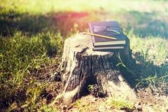 El libro cerrado sobre él es un lápiz, vidrios en un disparador un árbol adentro imagenes de archivo