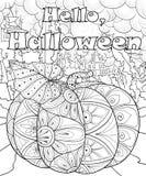 El libro de colorear adulto, pagina un ejemplo del tema de Halloween para relajarse Fotos de archivo
