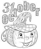 El libro de colorear adulto, pagina un ejemplo del tema de Halloween para relajarse Fotografía de archivo libre de regalías