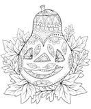 El libro de colorear adulto, pagina un ejemplo del tema de Halloween para relajarse Imagen de archivo