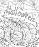 El libro de colorear adulto, pagina un ejemplo del tema de Halloween para relajarse Fotografía de archivo