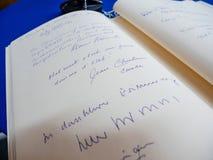El libro de los condoleances para Helmut Kohl en el Parlamento Europeo Imagen de archivo libre de regalías