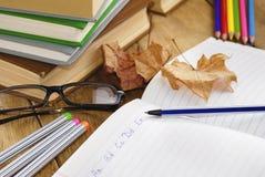 El libro de texto con la pluma Foto de archivo libre de regalías