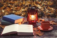 El libro, lámpara y una taza de café caliente en la tabla de madera vieja en un bosque Imagenes de archivo