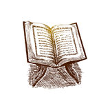 El libro sagrado del Corán en el soporte, ejemplo dibujado mano del vector del bosquejo Foto de archivo