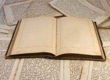 El libro viejo abierto con las paginaciones vacías Imagen de archivo libre de regalías