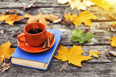 El libro y la taza de café caliente en la tabla de madera vieja, cubiertos en hojas de arce amarillas De nuevo a escuela Fotos de archivo libres de regalías