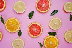 El limón anaranjado del pomelo deja el modelo de la fruta cítrica en fondo rosado foto de archivo
