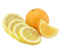 El limón del corte, el segmento anaranjado y anaranjado del conjunto Imagen de archivo