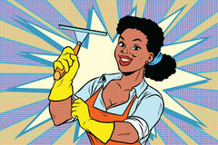 El limpiador con el limpiador del raspador del enjugador para las ventanas de limpieza suela b stock de ilustración