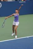 Cuatro prácticas de Maria Sharapova del campeón del Grand Slam de las épocas para el US Open Foto de archivo libre de regalías