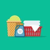 El lino o la ropa del lavadero en cestas vector la historieta del ejemplo, la limpieza o el concepto plana del servicio del lavad Imágenes de archivo libres de regalías