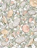 El llover del bote del efectivo del dinero Foto de archivo libre de regalías