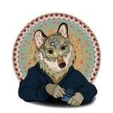 El lobo mágico en la máscara juega al juego de tarjeta Fotos de archivo