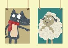El lobo y el arte del cordero stock de ilustración