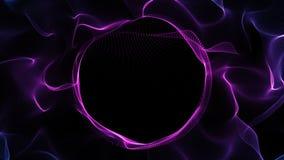 El logotipo abstracto de la partícula del lazo revela el fondo,