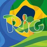 El logotipo abstracto de Río sobre el nacional del Brasil colorea el fondo Foto de archivo libre de regalías