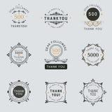 El logotipo con las palabras le agradece por muestras, insignia, etiqueta engomada imágenes de archivo libres de regalías