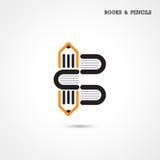 El logotipo creativo del extracto del icono del lápiz y del libro diseña templa del vector Fotos de archivo