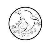 El logotipo de la ballena reduce el ejemplo del extracto del diseño de la historieta del icono de los símbolos de las muestras Foto de archivo libre de regalías