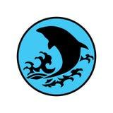 El logotipo de la ballena reduce el ejemplo del extracto del diseño de la historieta del icono de los símbolos de las muestras Fotos de archivo