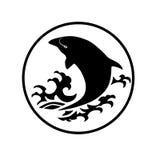 El logotipo de la ballena reduce el ejemplo del extracto del diseño de la historieta del icono de los símbolos de las muestras Fotografía de archivo