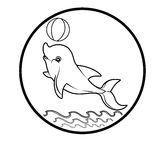 El logotipo de la ballena reduce el ejemplo del extracto del diseño de la historieta del icono de los símbolos de las muestras Imagen de archivo
