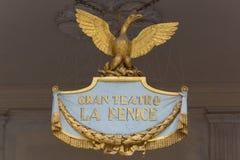El logotipo de la gran ópera en Venecia nombró a La Fenice Fotos de archivo libres de regalías