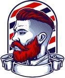 El logotipo de la peluquería de caballeros stock de ilustración