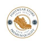 El logotipo de la tienda del calzado, la calidad superior, la insignia redonda 1963 del vintage del estd para la marca del calzad libre illustration