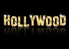 El logotipo de oro del vector de Hollywood, oro pone letras al fondo aislado o negro ilustración del vector