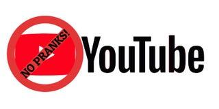El logotipo de YouTube sin broma firma encima símbolo rojo de la TV stock de ilustración
